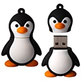 8 GB Novelty XYLO-FLASH Cute Black &amp; White Penguin Keyring USB 2.0 Memory Stick / Pen Storage Drive Compatible With PC / Mac.