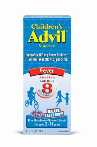 Children's Advil Ibuprofen Fever Reducer/Pain Reliever Oral Suspension, Blue Raspberry, 4-Ounce Bottles (Pack of 3)