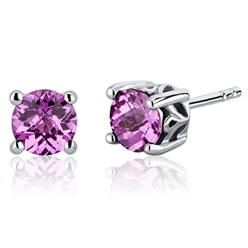 Created-Pink-Sapphire-Stud-Earrings-Sterling-Silver-Scroll-Design-200-Carats