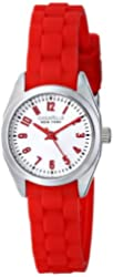 Caravelle New York by Bulova Women's 43L174 Silver-Tone Watch with Red Rubber Band