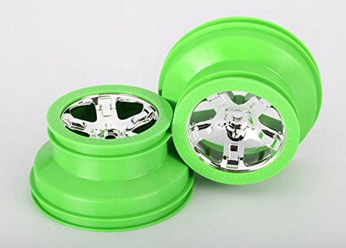 Traxxas 4WD Front/2WD Rear SCT Beadlock Style Dual Profile Wheels (2.2 Outer 3.0 Inner), Chrome/Green