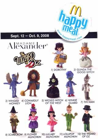 Buy Low Price McFarlane 2008 Mcdonalds Madame Alexander Wizard of Oz Dolls Set Of 12 Figure (B001FVZJFO)