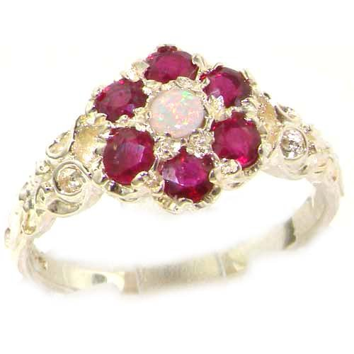 Victorian Ladies Solid Sterling Silver Natural Fiery Opal & Ruby Daisy Ring - Size 12 - Finger Sizes 5 to 12 Available - Suitable as an Anniversary ring, Engagement ring, Eternity ring, or Promise ring