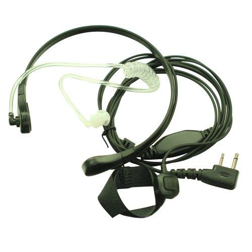 F Plug Throat Mic Microphone Covert Acoustic Tube Earpiece Headset With Finger Ptt For 2-Pin Icom Maxon Yaesu Vertex Radio