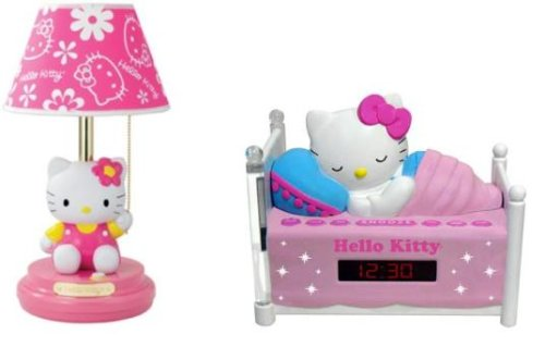 Hello Kitty Table Lamp with FREE Sleeping Hello Kitty Alarm Clock Radio Included