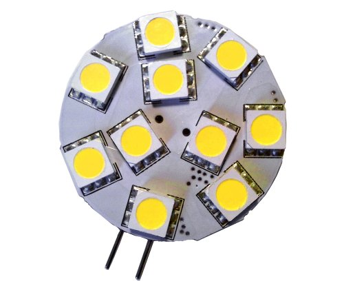 5X G4 Bipin Base 10 Led Disk Lamp - 12V Ac Dc Side Position, For Marine Boat, Rv, Auto And Diy (Cool White)
