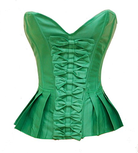 Bslingerie Green Ruffle Lace Up Back Boned Corset Top