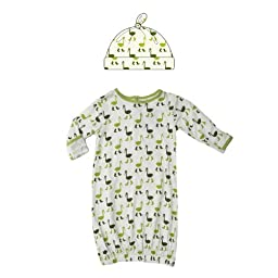 KicKee Pants Infant Layette Gown & Hat Outfit Set-Neutral Baby-Natural Crane, Newborn