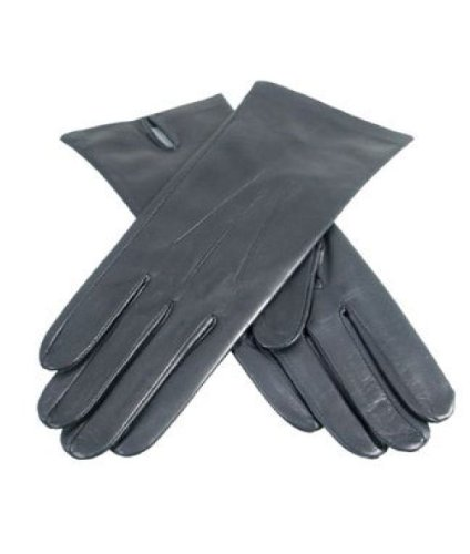 Dents Ladies Black Leather Gloves - Cashmere Lined