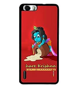 Fuson Premium Hare Krishna Metal Printed with Hard Plastic Back Case Cover for Huawei Honor 6