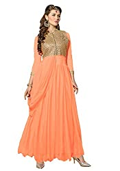 The Ethnic Chic Orange color Net Gown.