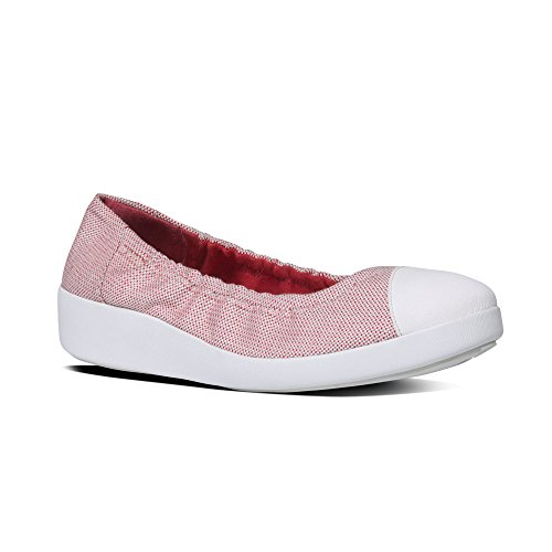 FitFlopTM F-PopTM Ballerina (Canvas) - Red Weave 4 UK Red Weave