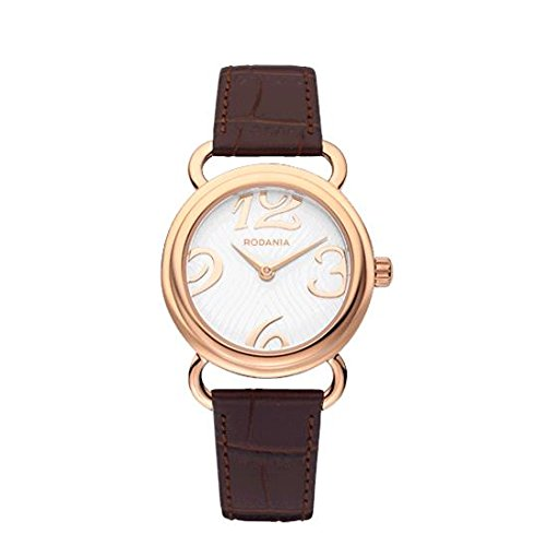 RODANIA Women's Desire Romance Brown Leather Band Rose Gold IP Case Quartz White Dial Watch 26176.33