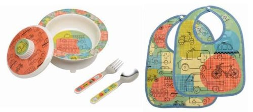 Sugarbooger Covered Bowl, Silverware, and 2 Bibs Set-Road Trip