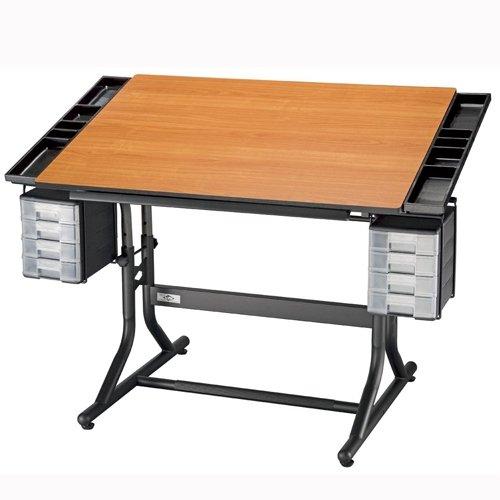CraftMaster II Deluxe Drafting Table Cherry Woodgrain Top/Black Base