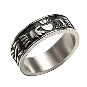 irish claddagh ring for men stainless steel lovers heart. Black Bedroom Furniture Sets. Home Design Ideas