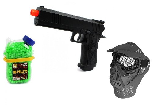(Bundle) Electric Airsoft Pistol Full Auto Armed Defense Fps-180 Aep + Mesh Mask With Visor And Neck Protection Airsoft Gun Accessory + 1000 Count Holster Container Bb'S