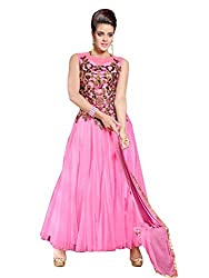 Suchi Fashion Embroidered Pink Net Semi Stitched Floor Length Party Wear Gown