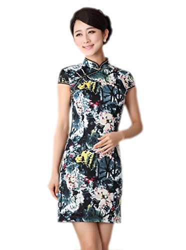 Jtc Women Cheongsam Chinese Dress Cup Sleeve Tie Dye (Xxl)