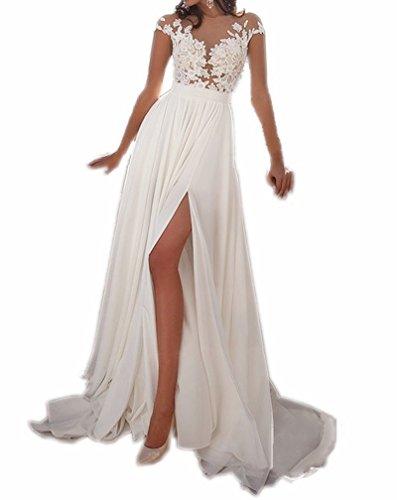 Spbridal Lace Appliques Chiffon Boho Wedding Dress For