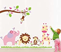 StickersKart Wall Stickers Baby Cartoon Animal Kingdom Kids Room (Multi-Colou...-869