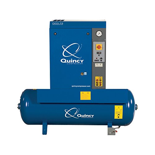 Quincy Qgs Rotary Screw Compressor - 10 Hp, 208/230/460V 3-Phase, 120 Gallon, 37 Cfm, Model# Qgs10