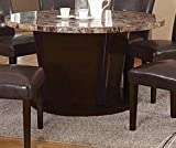 Acme 07005KIT Granada Walnut Finish With Brown Marble Top Circular Dining Table