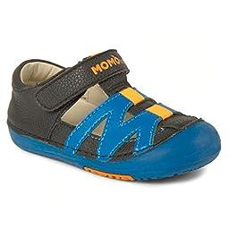 Momo Baby Boys First Walker/Toddler Mason Black/Blue Sandal Shoes - 7 M US Toddler