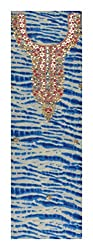 Sanskriti Women's Georgette Unstitched Kurta Material (Blue and White)