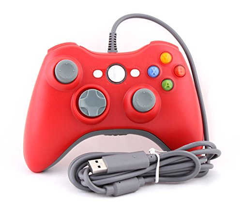 Wired 6 Axis Dual Shock USB Game Console,Flrely ® Controller Pad Joypad Handle Hand Shank for Microsoft Xbox 360 Live & Pc Windows Win 10 /8.1/ 7 (Red)