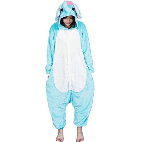 MizHome Warm And Cozy Flannel Character Kigurumi Onesie Pajamas Elephant S-XL