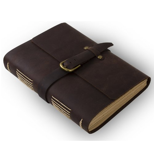 Classic Leather Journal Diary with Strap Vintage Buckle Handmade Blank Craft Paper Brown A5 with Gift Box (A5(5.8x8.3inch) & Blank Craft Paper)