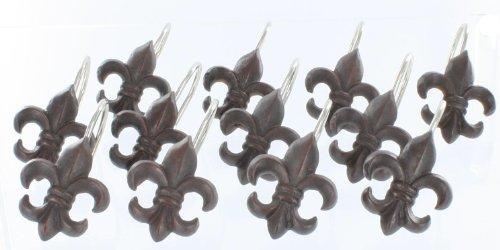 Fleur de lis decorative shower curtain hooks new orleans decor by marco new ebay - Fleur de lis shower curtain hooks ...