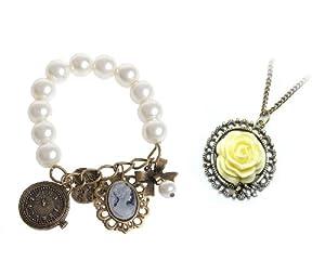 niceEshop(TM) 2Pcs Pack- Vintage Unique Bronze classic Flower style long necklace + Classic Pearl Bracelet with Charms
