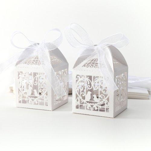 25pcs Boîte à dragées bonbons Coeur Oiseaux blanc pour Mariage