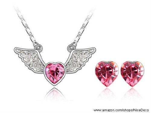Nicedeco Je-Sw-Tz067-Rosered,Swarovski Elements Austrian Crystal Jewelry Sets,The Heart Of Angel ,Necklace And Earring(2-Piece Set),Elegant Style And Exquisite Craftsmanship