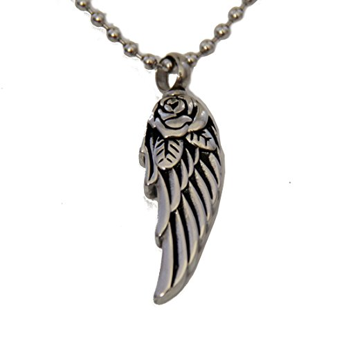 """Rose Eagle Wing"" Cremation Urn Jewelry, Stainless Steel Pendant Necklace For Men And Women On Funeral Day. Keepsake For Loved One"