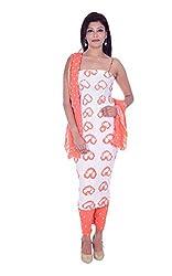 Apratim Women's Cotton Unstitched Dress Material (White and Orange)