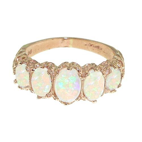 14ct Rose Gold Ladies Opal Ring - Size L - Finger Sizes L to Z Available