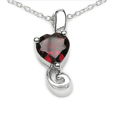7mm 1.30 CT Garnet Heart Pendant In Sterling Silver with 18-inch Chain $19.99