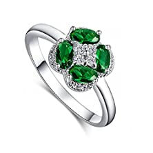 buy Leobon Fashion Flower Jewelry Party Wedding Rings For Women Green Emerald White Cz Diamond 18K White Gold Plated Ring