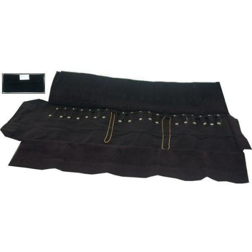 Black Velvet Chain Roll Up 20 Snaps Travel Display