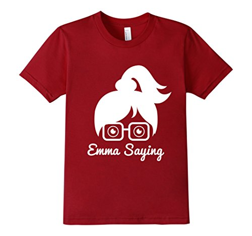 Kids-EmmaSaying-Fan-Club-Logo-T-Shirt-Nerdy-Girl-With-Glasses-Cranberry