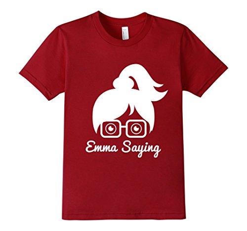 Kids-EmmaSaying-Fan-Club-Logo-T-Shirt-Nerdy-Girl-With-Glasses-Cranberry