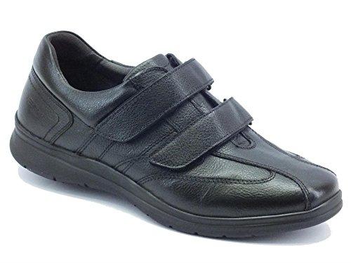 Scarpe per uomo Zen Air in pelle nera doppio velcro (Taglia 43)