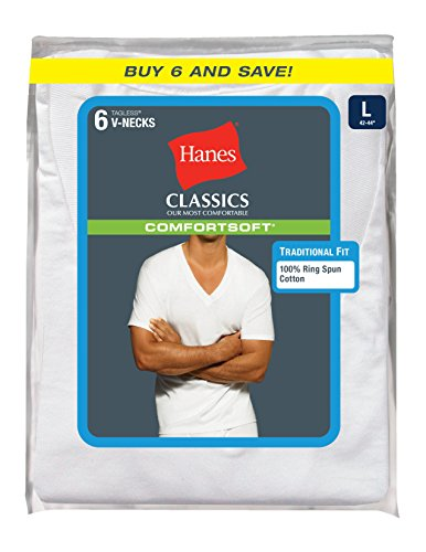 Hanes 恒适 男款纯棉 V领短袖T恤 6件装图片