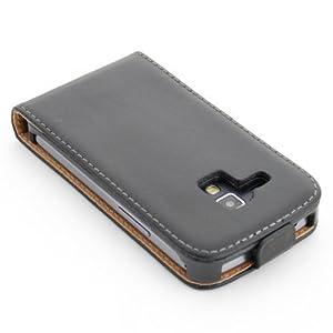 ECENCE 31030403 Samsung Galaxy S Duos S7562 handy tasche flip case klapp schutz hülle cover schwarz inklusive Displayschutzfolie