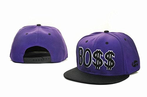 BOSS Purple Snapback Cotton Snapback Cap Hat