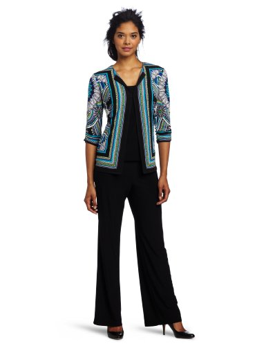 Danny & Nicole Women's Printed Jacket, over solid Matte Jersey shell and pant