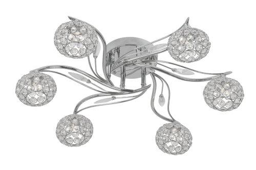 Oaks Lighting Esmee - Lampadario con 6 luci cromate luciden, con ombre di cristallo cascanti